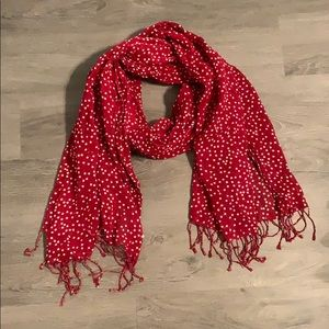 Red and White Polka Dot Scarf
